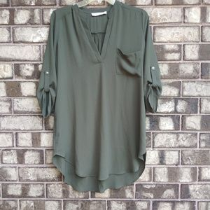 🍁Lush army green tunic top suze small